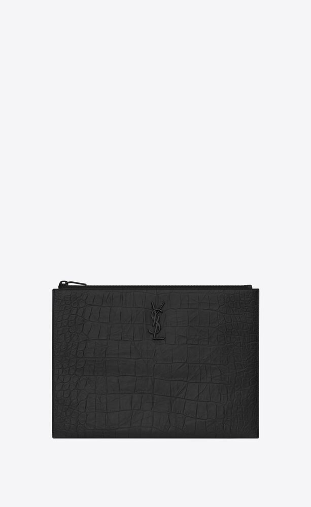 monogram tablet holder in crocodile embossed leather