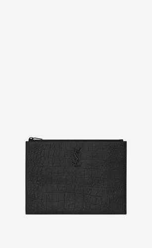 크로커다일 무늬가 새겨진 블랙 가죽 소재의 모노그램 생 로랑 지퍼 태블릿 홀더