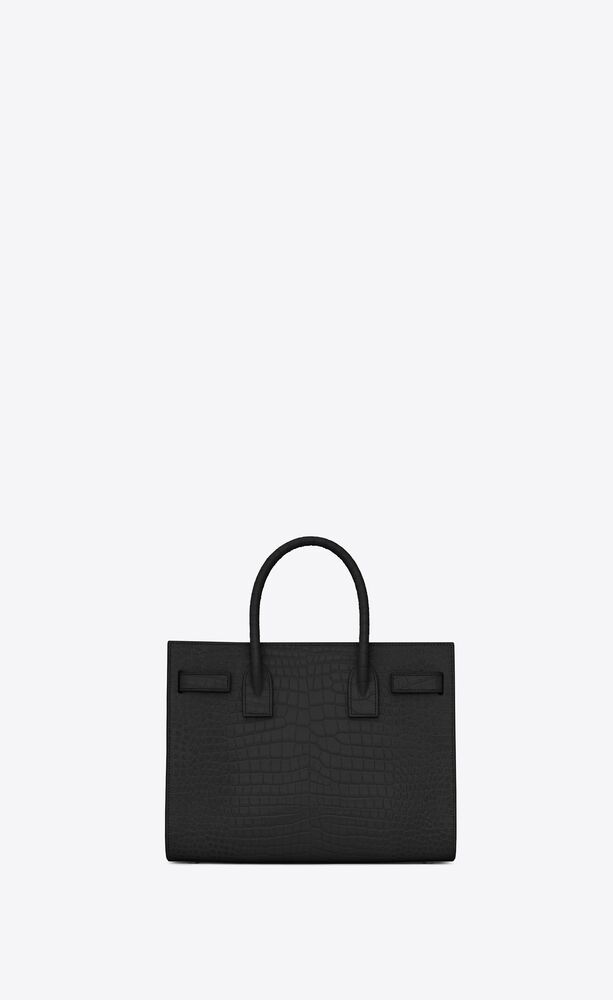 baby sac de jour bag aus schwarzem leder in krokodilprägung