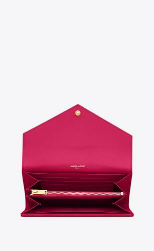 large flap wallet in lipstick fuchsia textured matelassé leather