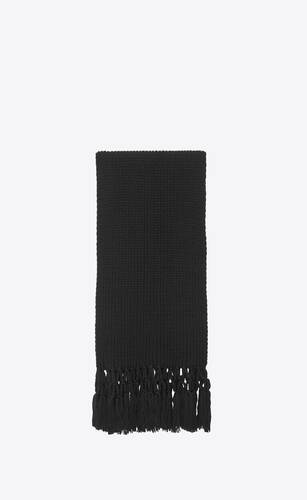 scarf in black wool knit and macramé