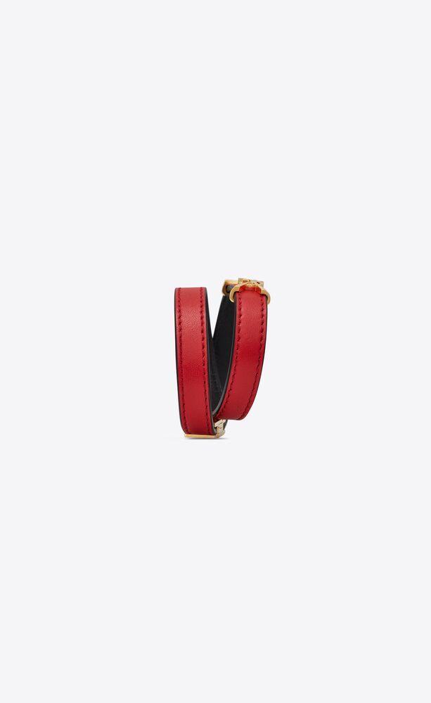 pulsera de dos vueltas opyum de piel roja y metal dorado
