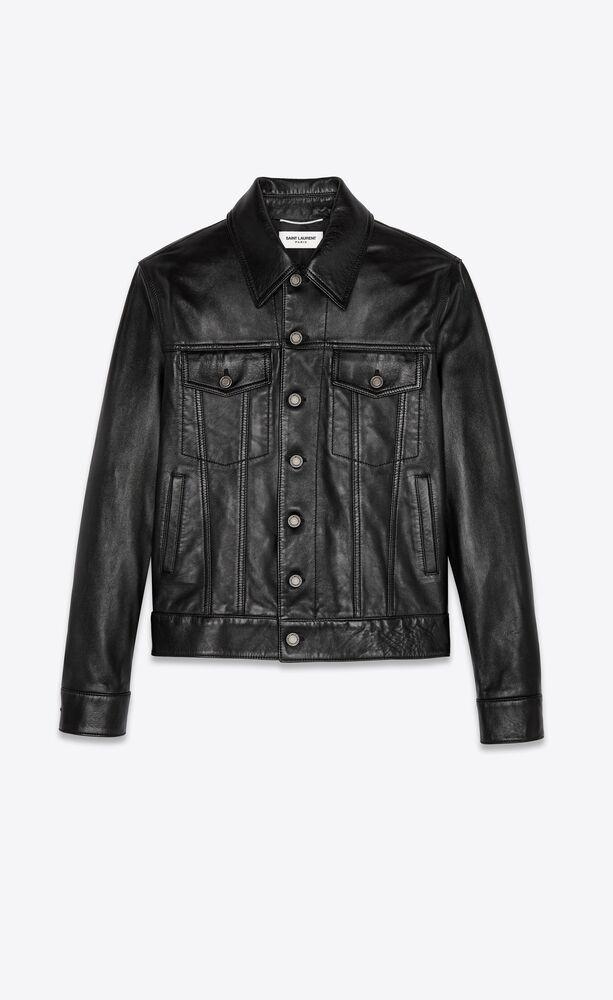 jacke im jeansjacken-style aus schwarzem glattleder mit knöpfen