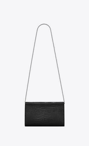 monogram chain wallet in crocodile embossed shiny leather