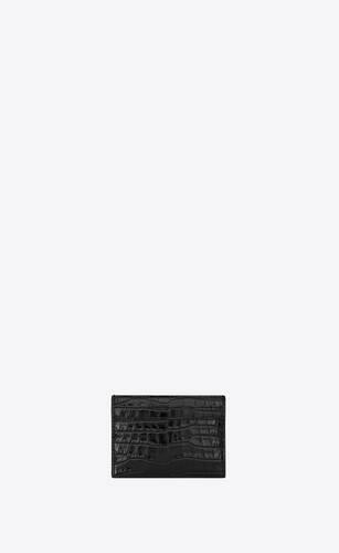 porta carte nero in coccodrillo stampato