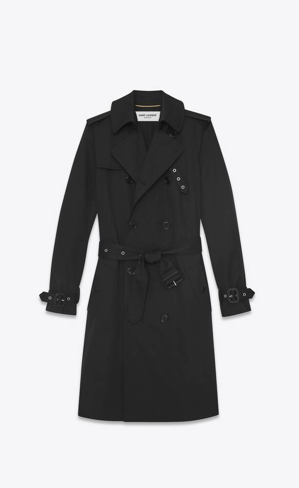 double breasted belted trench coat in black gabardine