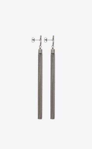 loulou earrings with chain tassels in silver brass
