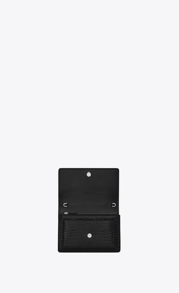 sunset chain wallet in crocodile embossed shiny leather