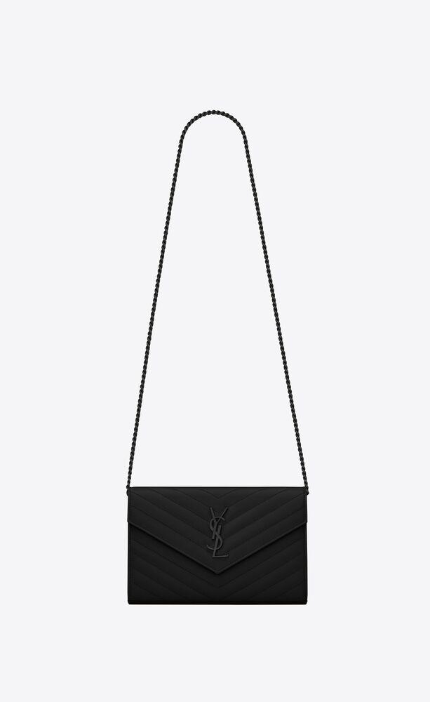 モノグラム・サンローラン チェーンウォレット(ブラック/グレインパウダーテクスチャード キルティングレザー)