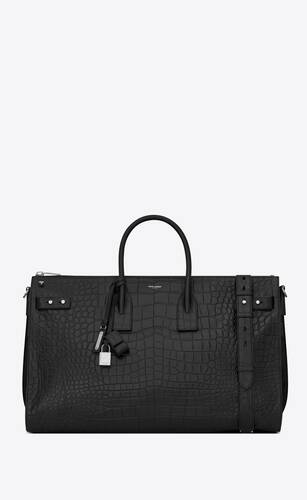 sac de jour 48h duffle bag in embossed crocodile