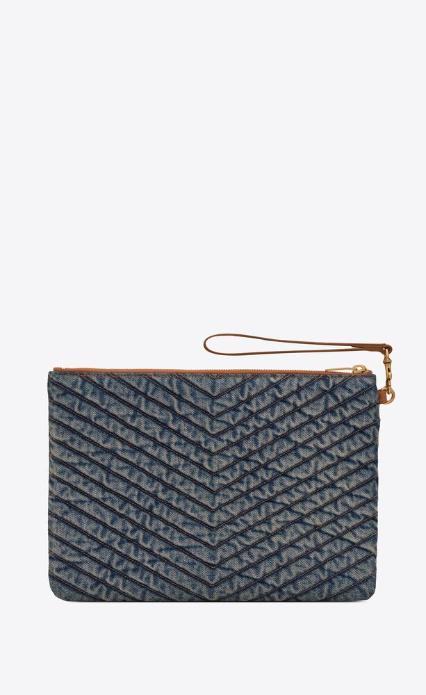 monogram tablet pouch in quilted vintage denim and suede