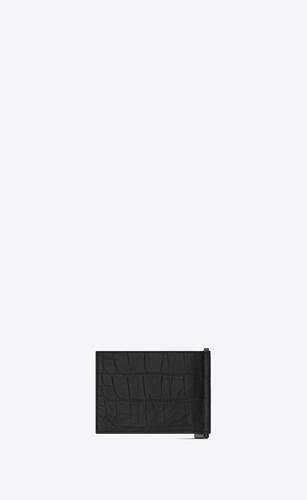 monogram bill clip wallet in crocodile embossed leather