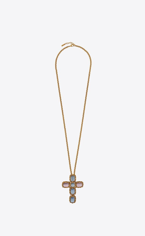 long baroque cross charm necklace in metal