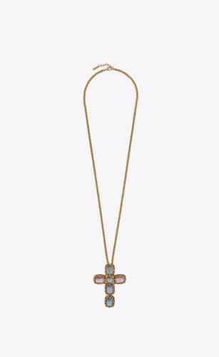collar largo de metal con charm de cruz barroca