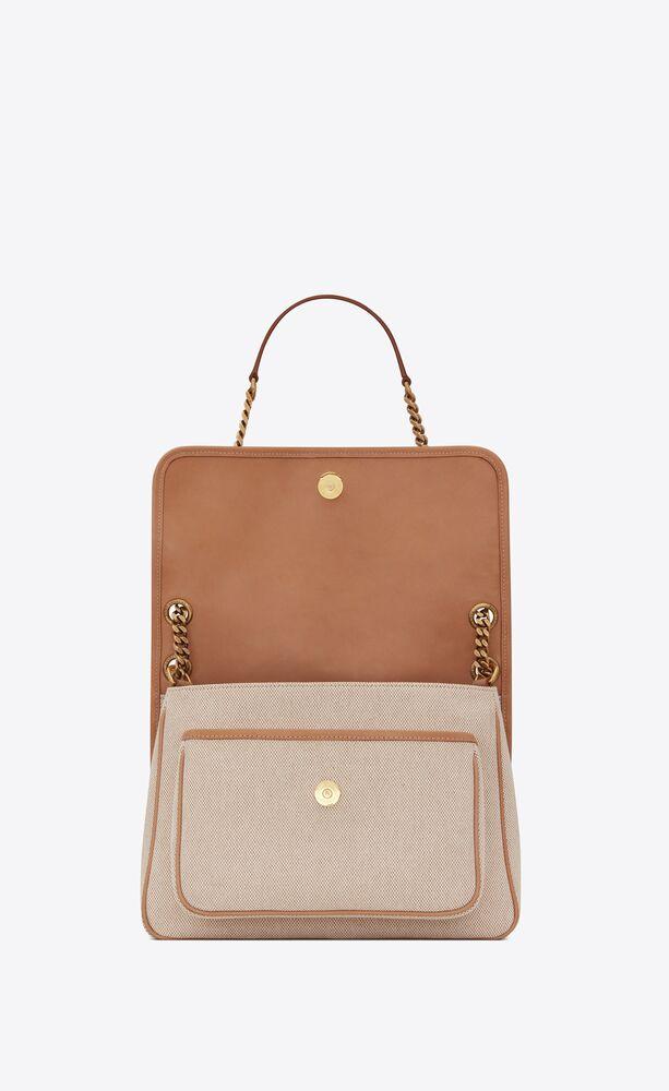 borsa niki media in tela di cotone e pelle vintage