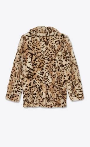 manteau patchwork en vison à imprimé ocelot