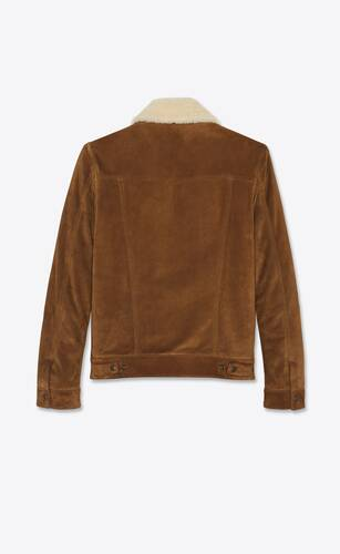 short jacket in vintage suede and shearling