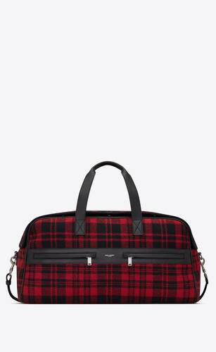 camp duffle bag in tartan and lambskin