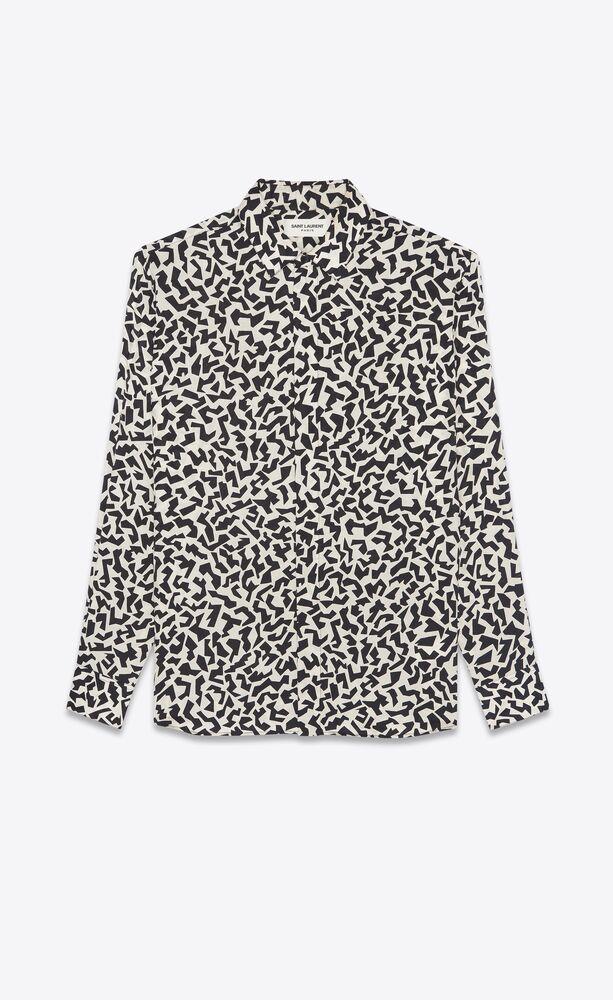 klassisches hemd mit yves-kragen aus matter und glänzender seide mit glitzer-print