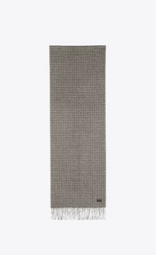 pied de poule scarf in wool and cashmere jacquard