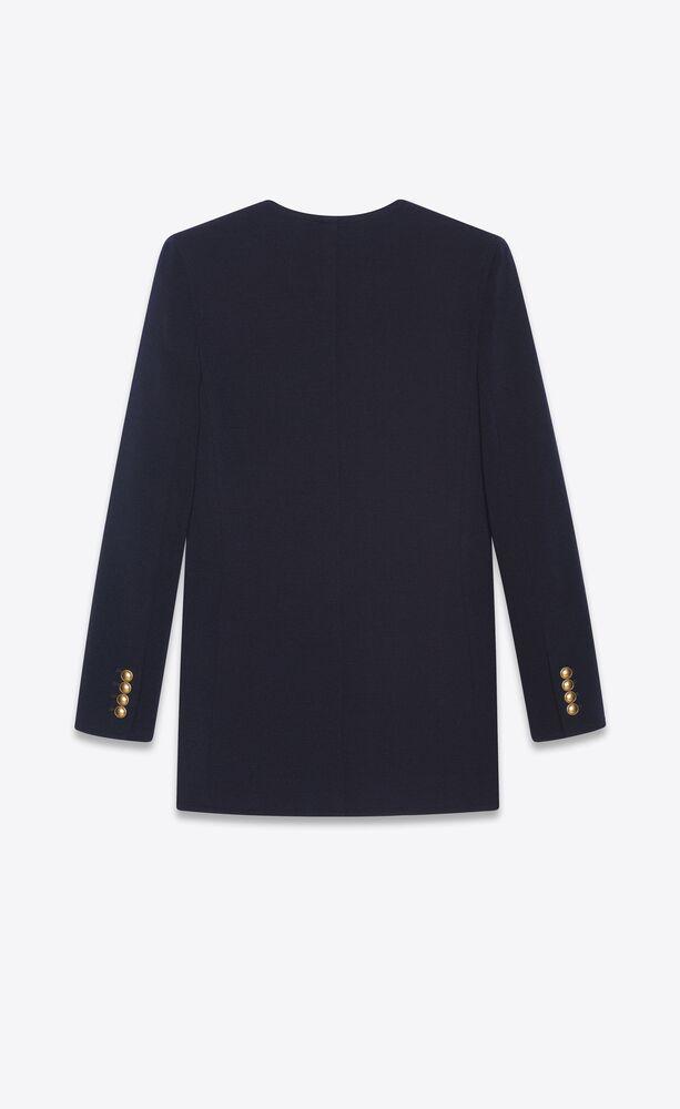 long u-neck jacket in wool jersey