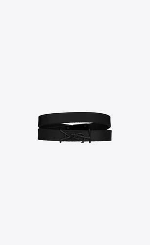 opyum bracelet double tour en cuir lisse et métal