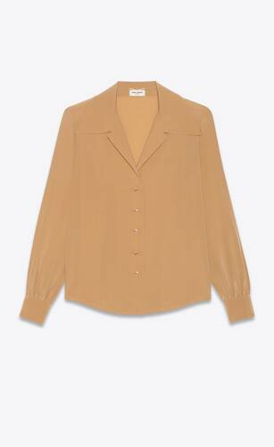 bluse mit offenem kragen aus crêpe-de-chine-seide
