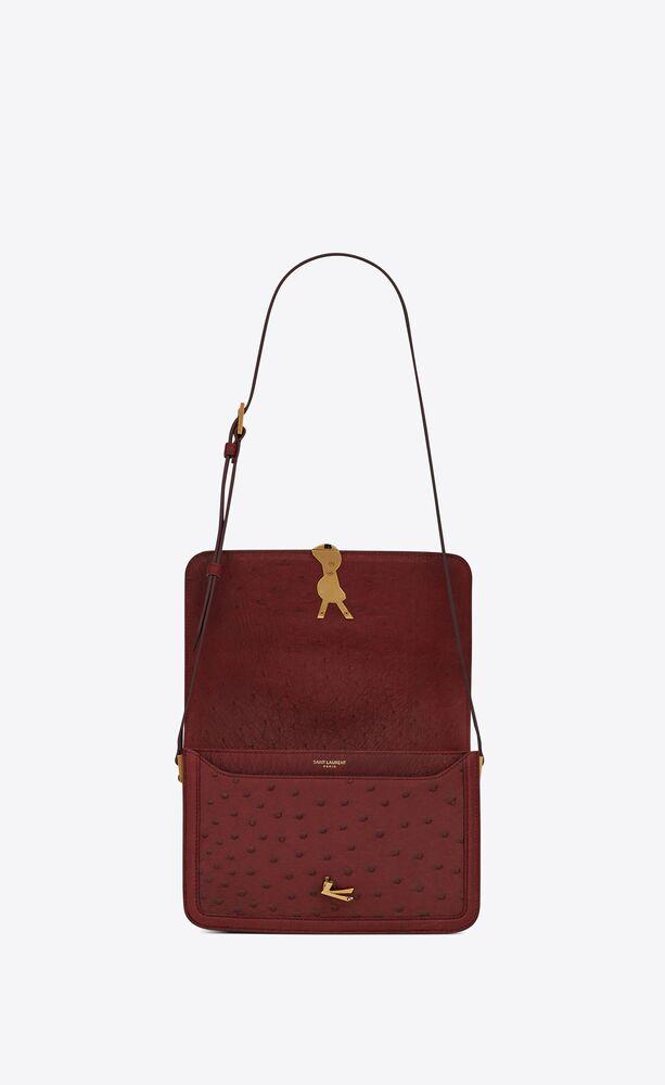 solferino medium satchel en cuir d'autruche vintage