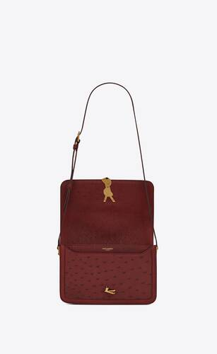 solferino medium satchel in vintage ostrich leather