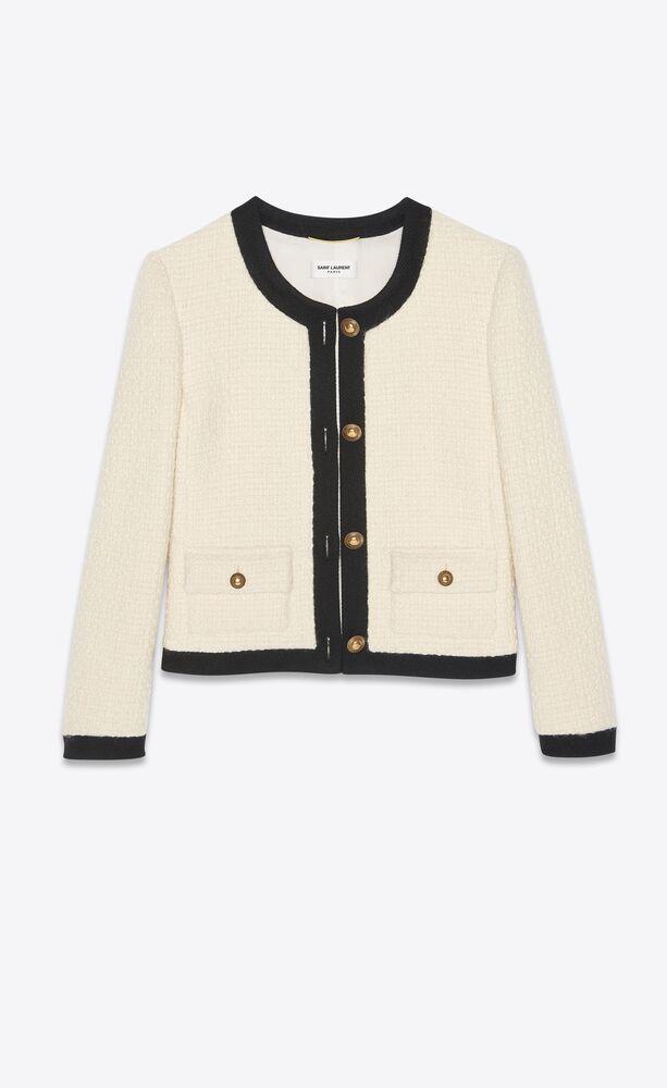 veste courte en tweed et bordures contrastantes