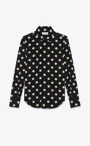 slim-fit western shirt in dotted black enzyme washed denim