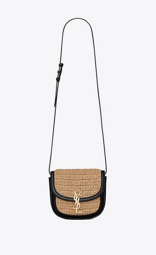 kaia small satchel in raffia and leather