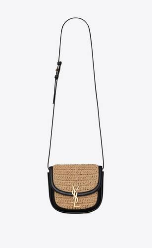 bolso cruzado pequeño kaia de rafia y piel