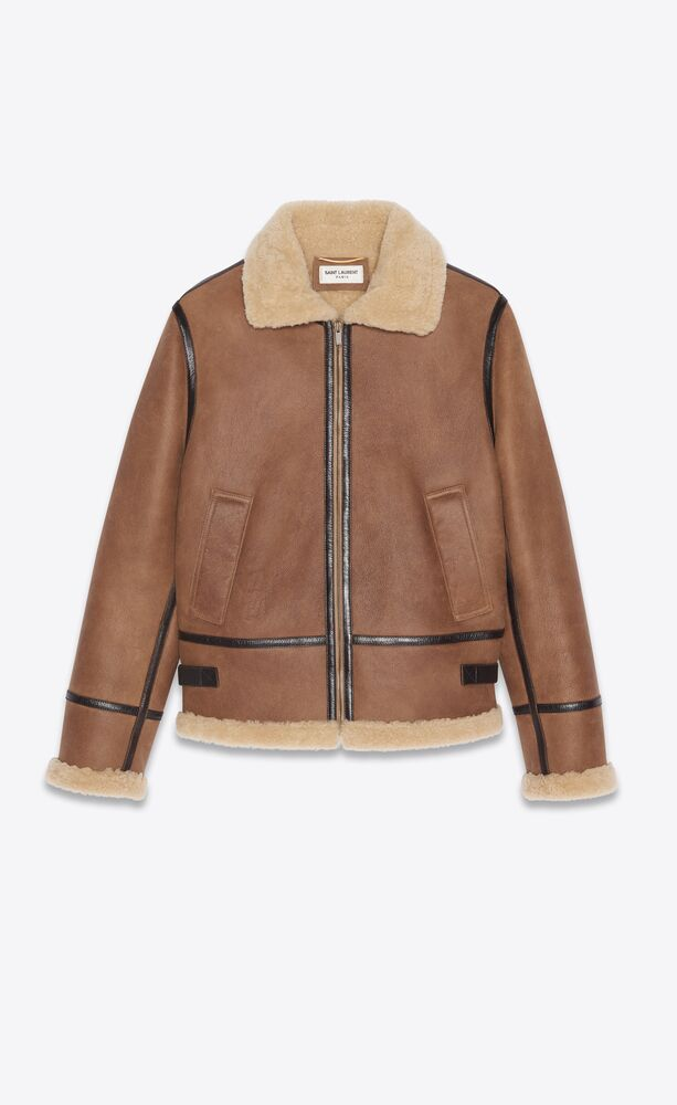 aviator jacket in aged leather and shearling