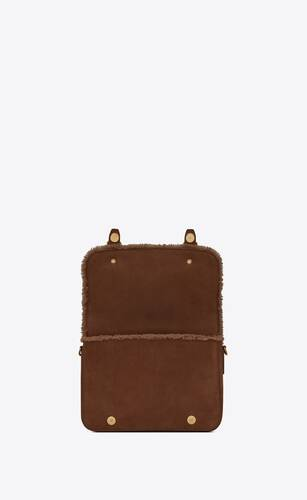 schoolbag mini satchel in shearling and nubuck
