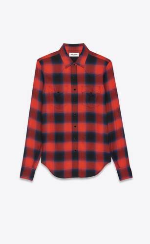 slim western shirt in viscose check