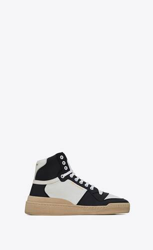 sl24 mid-top sneakers in smooth and perforated leather