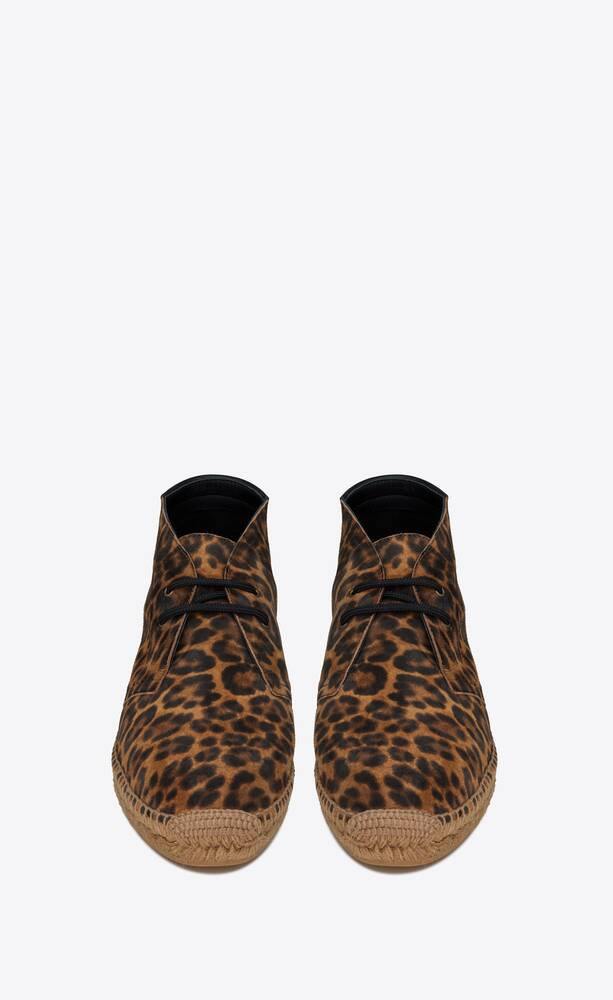 laced espadrilles in leopard-print suede
