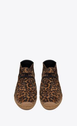 schnür-espadrilles aus veloursleder mit leoparden-print