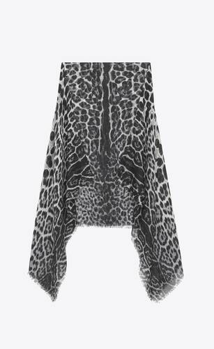 large square leopard scarf in grey and black cashmere etamine