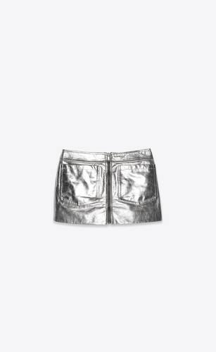 zipped mini skirt in lamé calfskin