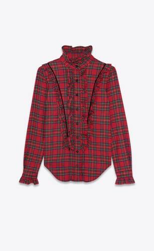chemise western à volants en laine à carreaux