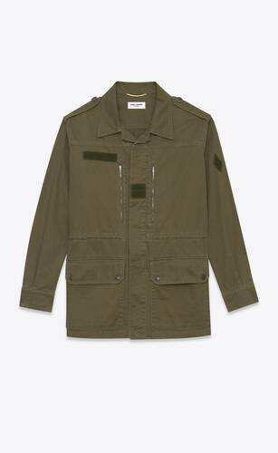 military parka in cotton and linen gabardine