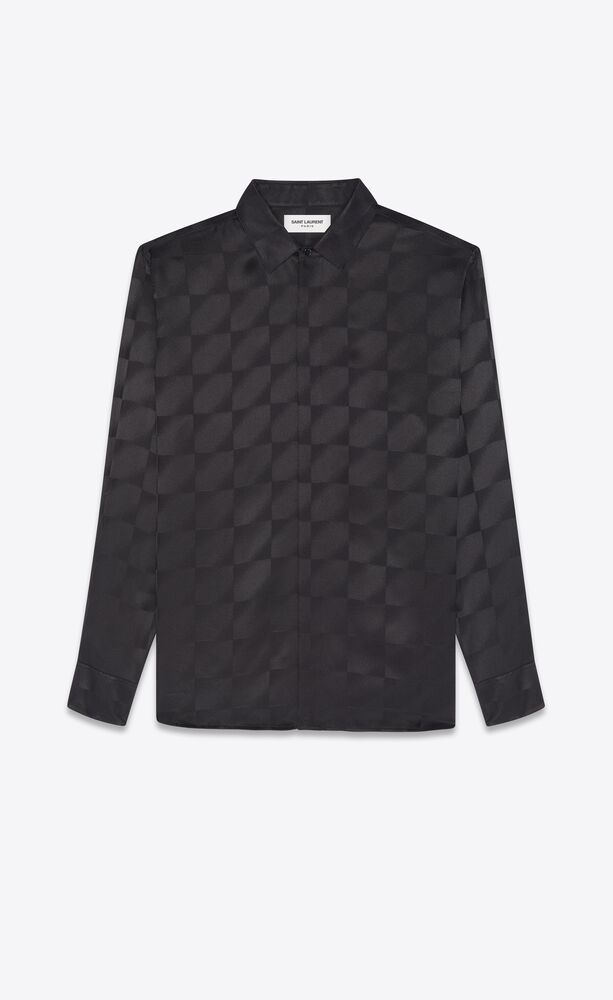 yves collar classic shirt in matte and shiny silk