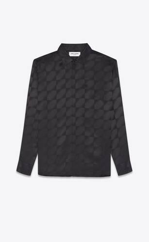 camisa clásica con cuello yves en seda mate y brillante