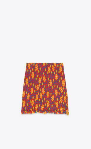 smocked mini skirt in floral silk