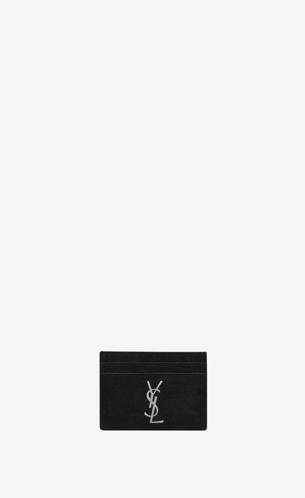 monogram kartenetui aus nubuk mit krokoprägung