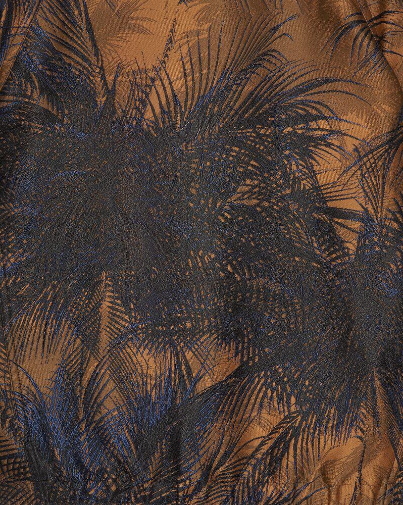 chaqueta raglán con cremallera y motivo de damasco de palmeras