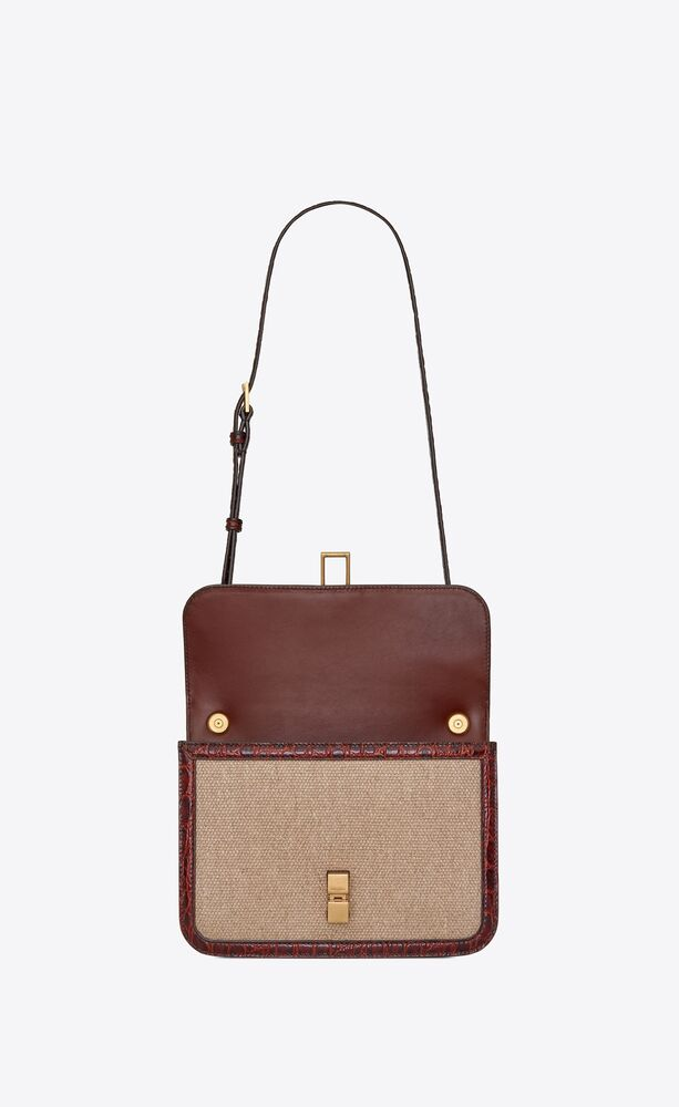 carré satchel in linen canvas and crocodile-embossed leather
