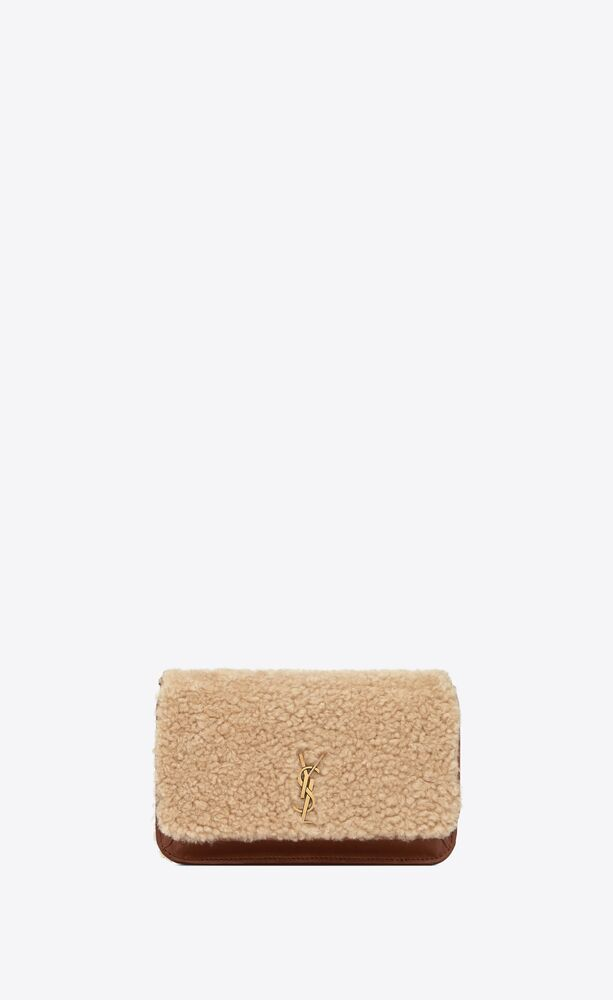monogram phone holder with strap in shearling and smooth leather